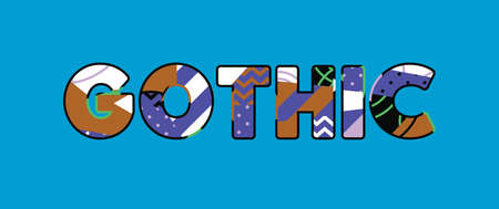 The word GOTHIC concept written in colorful abstract typography. Vector EPS 10 available. Çizim