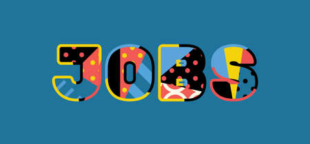 The word JOBS concept written in colorful abstract typography. Vector EPS 10 available.