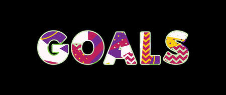 The word GOALS concept written in colorful abstract typography. Vector EPS 10 available. 일러스트