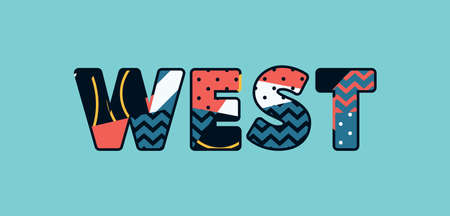The word WEST concept written in colorful abstract typography. Vector EPS 10 available.
