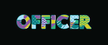 The word OFFICER concept written in colorful abstract typography. Vector EPS 10 available.