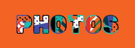 The word PHOTOS concept written in colorful abstract typography. Vector EPS 10 available.