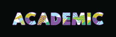 The word ACADEMIC concept written in colorful abstract typography. Vector EPS 10 available.