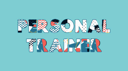 The word PERSONAL TRAINER concept written in colorful abstract typography. Vector EPS 10 available. 向量圖像