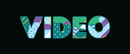 The word VIDEO concept written in colorful abstract typography. Vector EPS 10 available. Ilustração