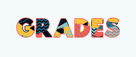 The word GRADES concept written in colorful abstract typography. Vector EPS 10 available.