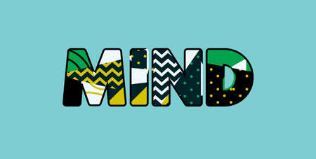 The word MIND concept written in colorful abstract typography. Vector EPS 10 available. Ilustração