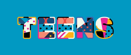 The word TEENS concept written in colorful abstract typography. Vector EPS 10 available. Illustration