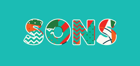 The word SONS concept written in colorful abstract typography. Vector EPS 10 available.