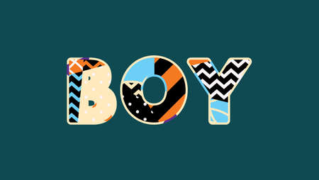 The word BOY concept written in colorful abstract typography. Vector EPS 10 available. 向量圖像