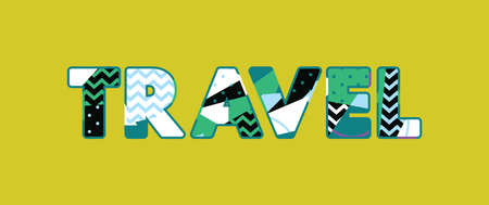 The word TRAVEL concept written in colorful abstract typography. Vector EPS 10 available.