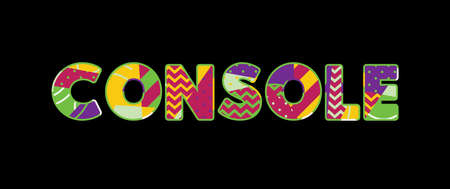 The word CONSOLE concept written in colorful abstract typography. Vector EPS 10 available.