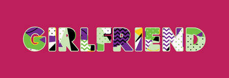 The word GIRLFRIEND concept written in colorful abstract typography. Vector EPS 10 available.