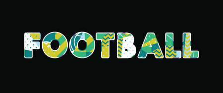 The word FOOTBALL concept written in colorful abstract typography. Vector EPS 10 available.