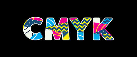 The word CMYK concept written in colorful abstract typography. Vector EPS 10 available. Illustration