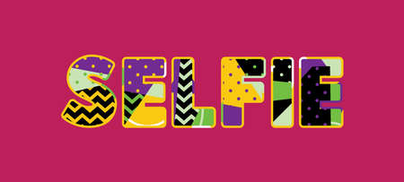 The word SELFIE concept written in colorful abstract typography. Vector EPS 10 available.
