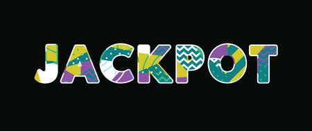 The word JACKPOT concept written in colorful abstract typography. Vector EPS 10 available.