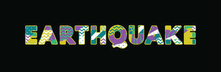 The word EARTHQUAKE concept written in colorful abstract typography. Vector EPS 10 available. 向量圖像