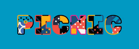 The word PICNIC concept written in colorful abstract typography. Vector EPS 10 available. Illustration