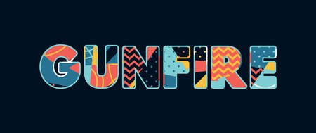 The word GUNFIRE concept written in colorful abstract typography. Vector EPS 10 available.