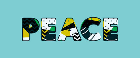 The word PEACE concept written in colorful abstract typography. Vector EPS 10 available.