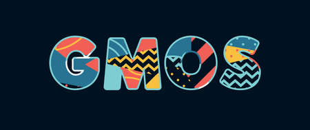 The word GMOS concept written in colorful abstract typography. Vector EPS 10 available.