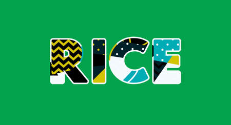 The word RICE concept written in colorful abstract typography. Vector EPS 10 available.