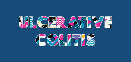 The words ULCERATIVE COLITIS concept written in colorful abstract typography. Vector EPS 10 available.