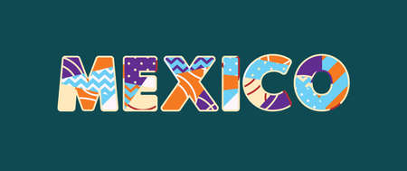 The word MEXICO concept written in colorful abstract typography. Vector EPS 10 available.