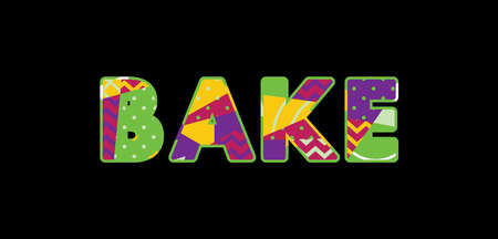 The word BAKE concept written in colorful abstract typography. Vector EPS 10 available.