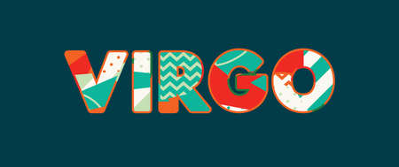 The word VIRGO concept written in colorful abstract typography. Vector EPS 10 available. Çizim