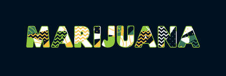 The word MARIJUANA concept written in colorful abstract typography. Vector EPS 10 available.