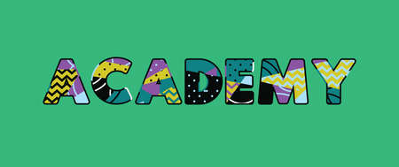 The word ACADEMY concept written in colorful abstract typography. Vector EPS 10 available.