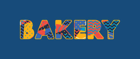 The word BAKERY concept written in colorful abstract typography. Vector EPS 10 available.