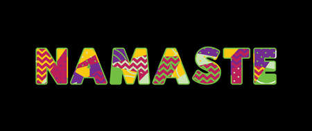 The word NAMASTE concept written in colorful abstract typography. Vector EPS 10 available.