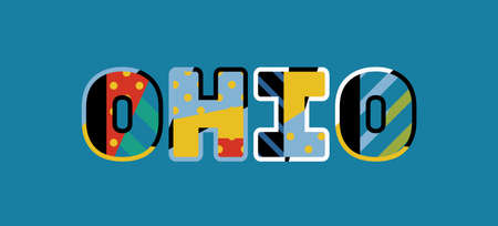 The word OHIO concept written in colorful abstract typography. Vector EPS 10 available.