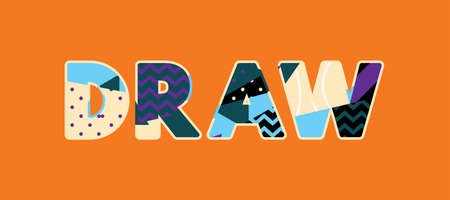 The word DRAW concept written in colorful abstract typography. Vector EPS 10 available.