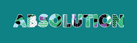 The word ABSOLUTION concept written in colorful abstract typography. Vector EPS 10 available. Çizim