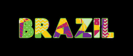 The word BRAZIL concept written in colorful abstract typography. Vector EPS 10 available. Ilustrace