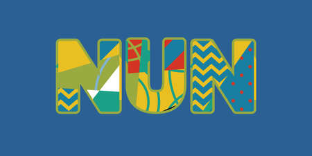 The word NUN concept written in colorful abstract typography. Vector EPS 10 available. Illusztráció