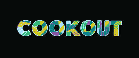 The word COOKOUT concept written in colorful abstract typography. Vector EPS 10 available.