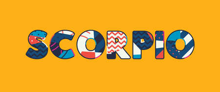 The word SCORPIO concept written in colorful abstract typography. Vector EPS 10 available.