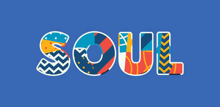 The word SOUL concept written in colorful abstract typography. Vector EPS 10 available. Illustration