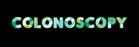 The word COLONOSCOPY concept written in colorful abstract typography. Vector EPS 10 available. Illustration