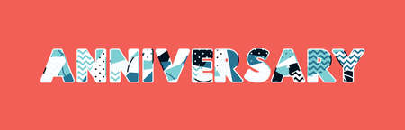 The word ANNIVERSARY concept written in colorful abstract typography. Vector EPS 10 available.