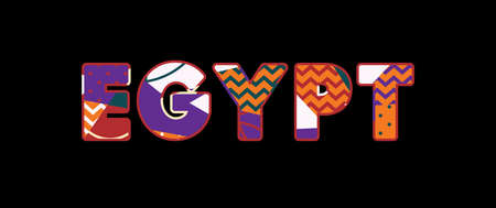 The word EGYPT concept written in colorful abstract typography. Vector EPS 10 available. Stock Illustratie