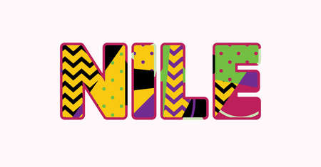 The word NILE concept written in colorful abstract typography. Vector EPS 10 available.