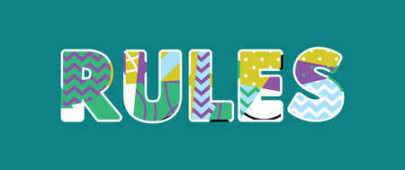 The word RULES concept written in colorful abstract typography. Vector EPS 10 available.  イラスト・ベクター素材