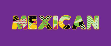 The word MEXICAN concept written in colorful abstract typography. Vector EPS 10 available.