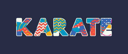 The word KARATE concept written in colorful abstract typography. Vector EPS 10 available. Stok Fotoğraf - 103633312